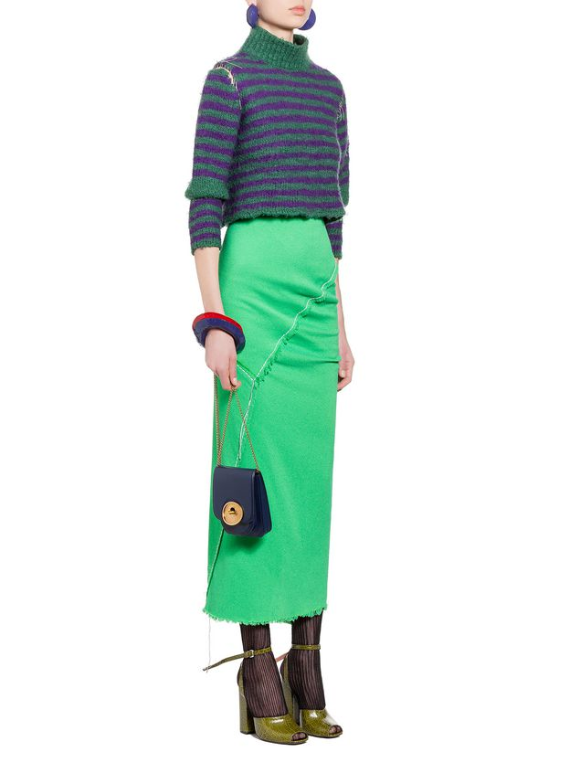 Marni Skirt in double viscose sablé with hanging threads Woman - 4