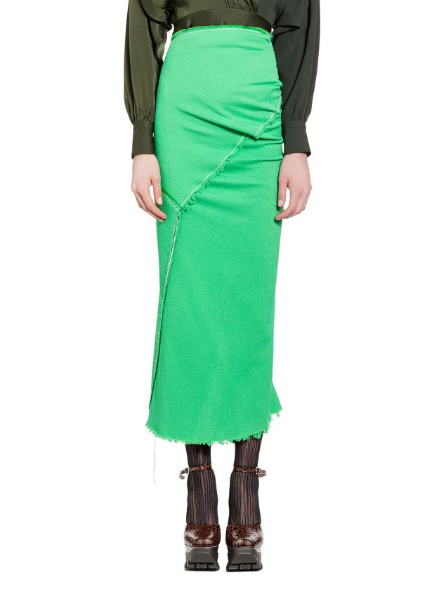 Marni Skirt in double viscose sablé with hanging threads Woman - 1
