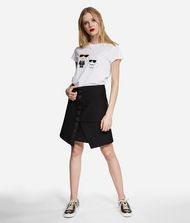 KARL LAGERFELD Metallic Cotton Twill Skirt 9_f