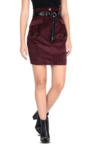 JUST CAVALLI Knee length skirt [*** pickupInStoreShipping_info ***] Leather-look midi skirt f