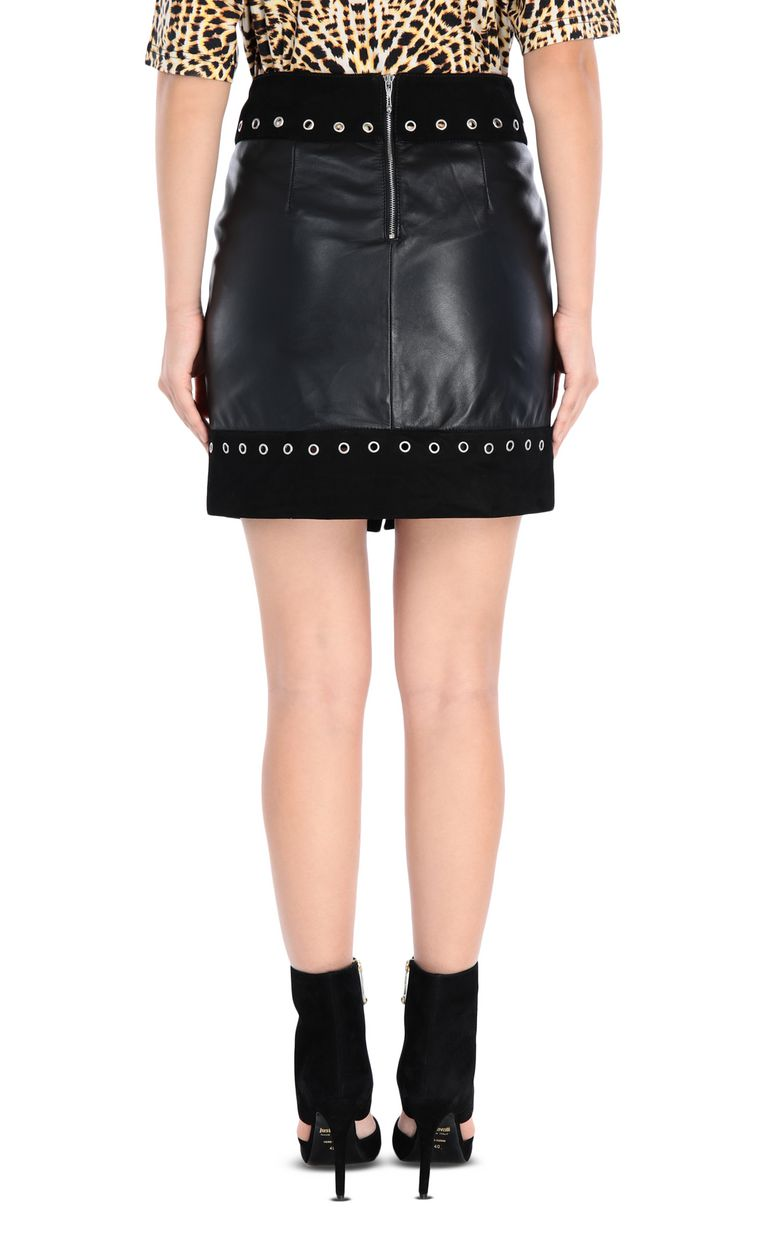 JUST CAVALLI Mini skirt with eyelet detail Leather skirt Woman d