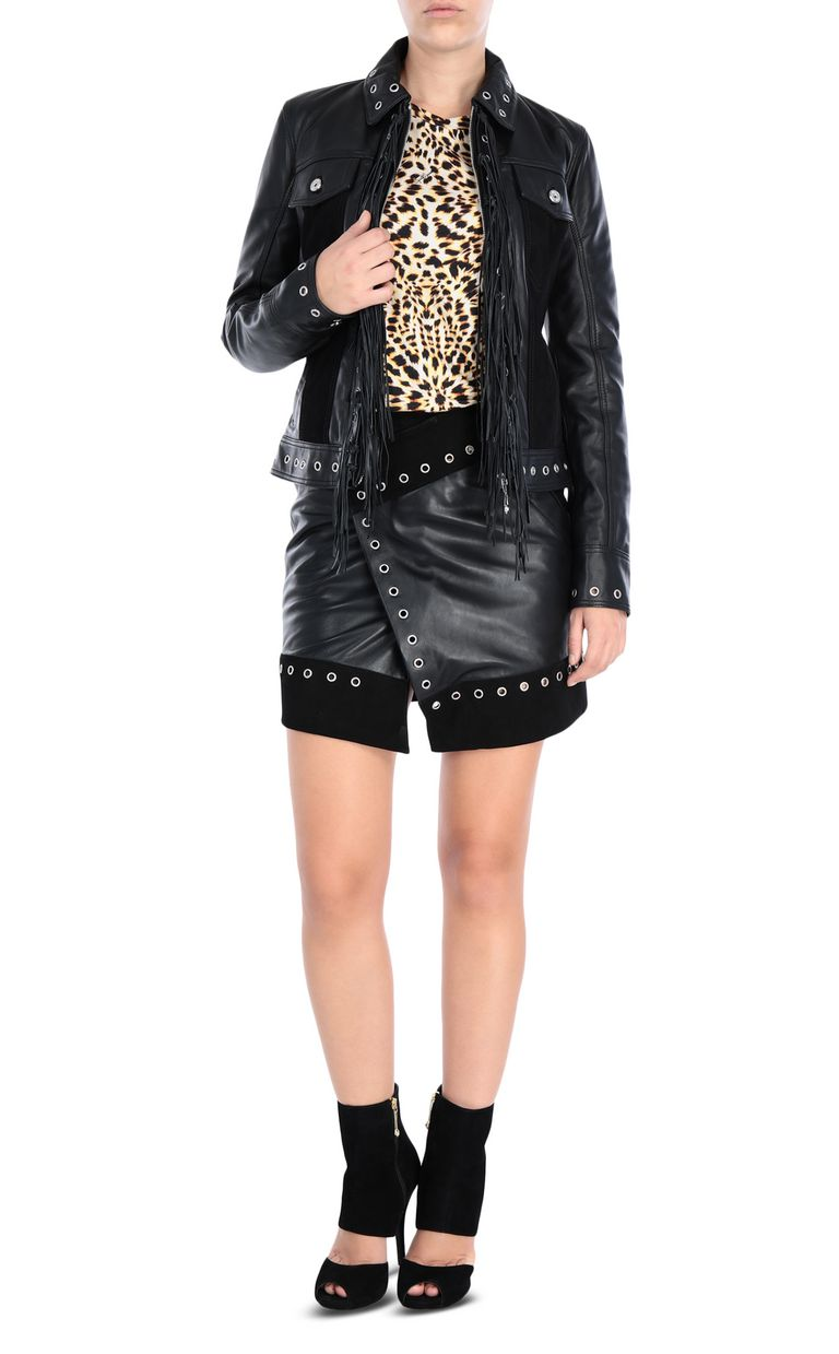 JUST CAVALLI Mini skirt with eyelet detail Leather skirt Woman r