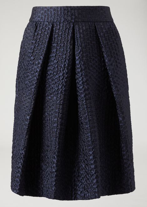 Flared pleated skirt in patterned jacquard fabric