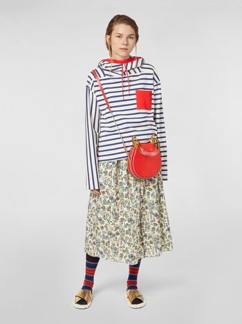 Marni Straight-cut skirt in cotton voile with Maisie print Woman