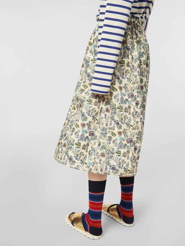 Marni Straight-cut skirt in cotton voile with Maisie print Woman - 5