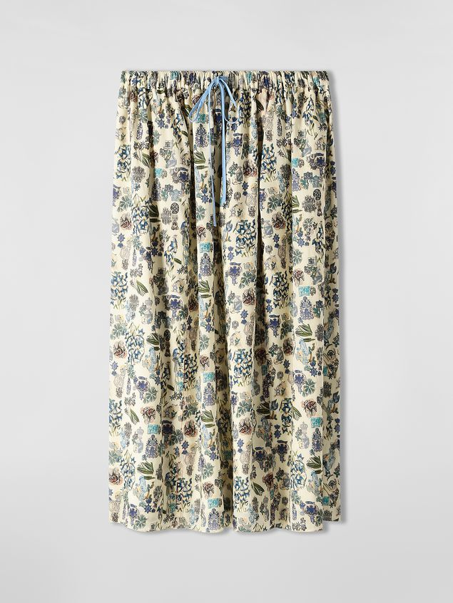 Marni Straight-cut skirt in cotton voile with Maisie print Woman - 2