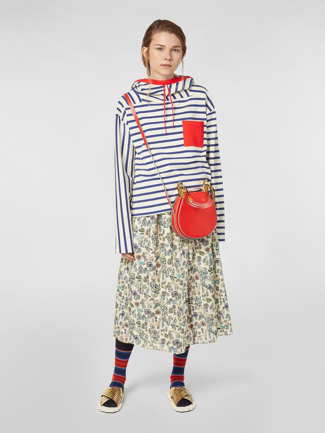 Marni Straight-cut skirt in cotton voile with Maisie print Woman - 1