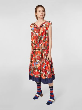 Marni Gonna in cady di cotone stampa Duncraig Donna