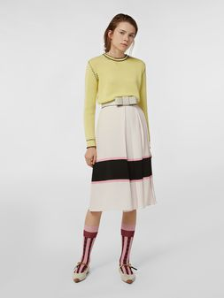 Marni Large-pleated skirt in washed crepe Woman