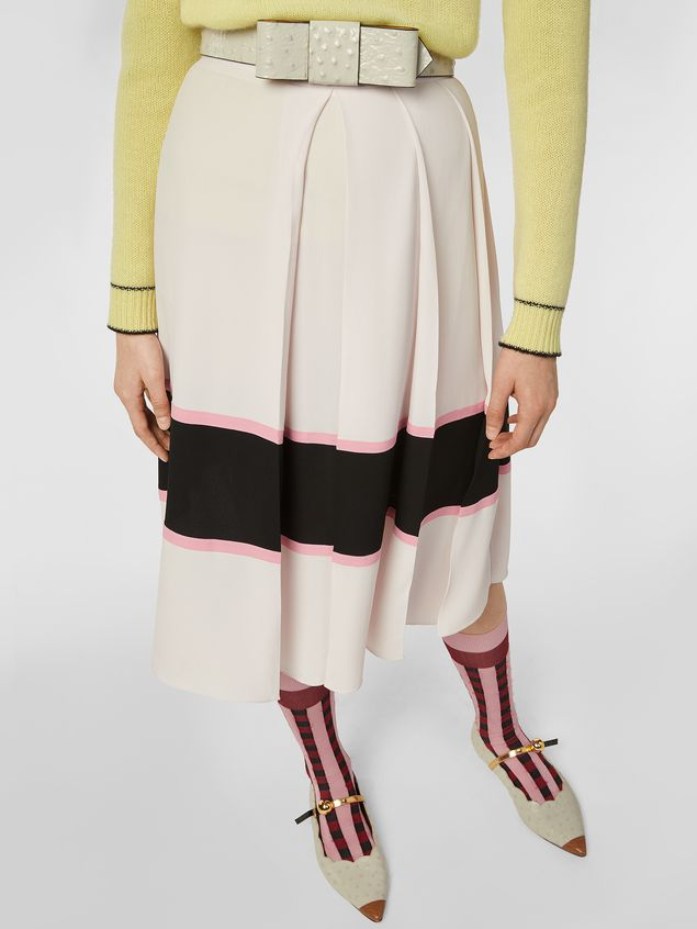 Marni Large-pleated skirt in washed crepe Woman - 5