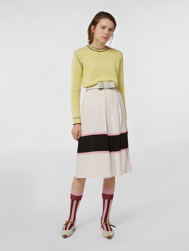 Marni Large-pleated skirt in washed crepe Woman - 1