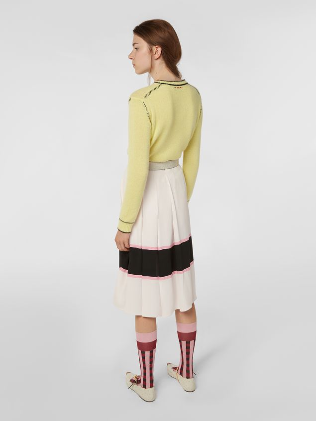 Marni Large-pleated skirt in washed crepe Woman - 3