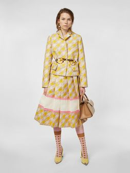 Marni Pleated skirt in techno fabric with macro Houndstooth pattern Woman