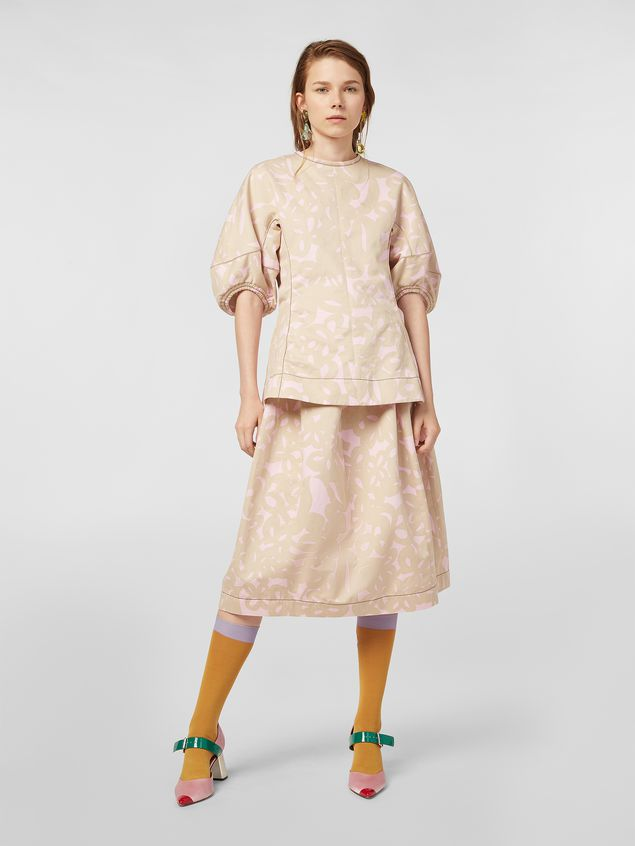 Marni Balloon skirt in cotton drill with Danna print Woman - 1