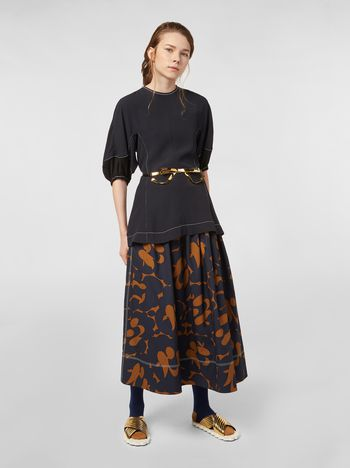 Marni Skirt in cotton poplin with Belou print and horn buttons Woman
