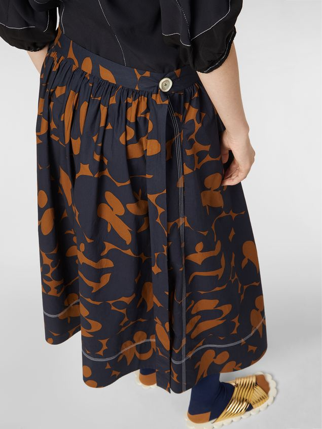 Marni Skirt in cotton poplin with Belou print and horn buttons Woman - 5