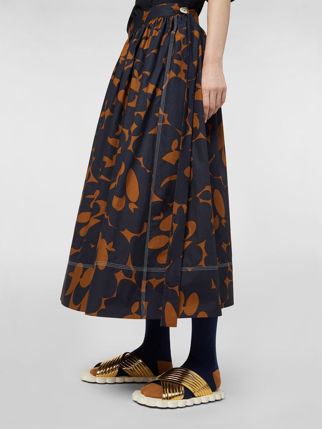 Marni Skirt in cotton poplin with Belou print and horn buttons Woman - 4