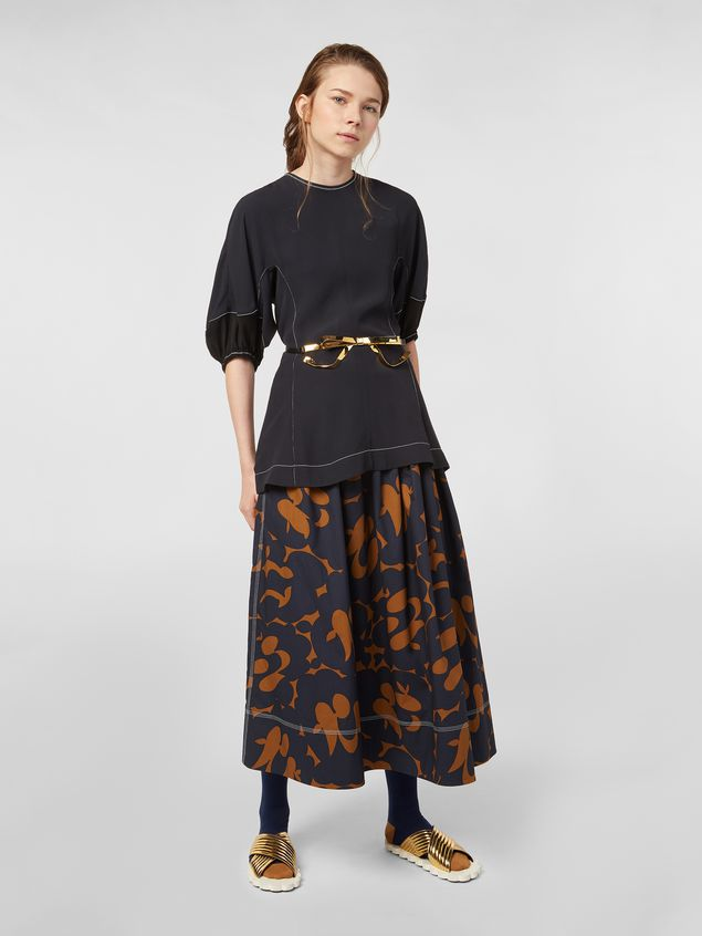 Marni Skirt in cotton poplin with Belou print and horn buttons Woman - 1