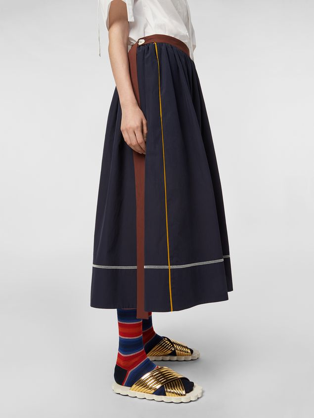 Marni - Skirt in cotton poplin with horn buttons - 5