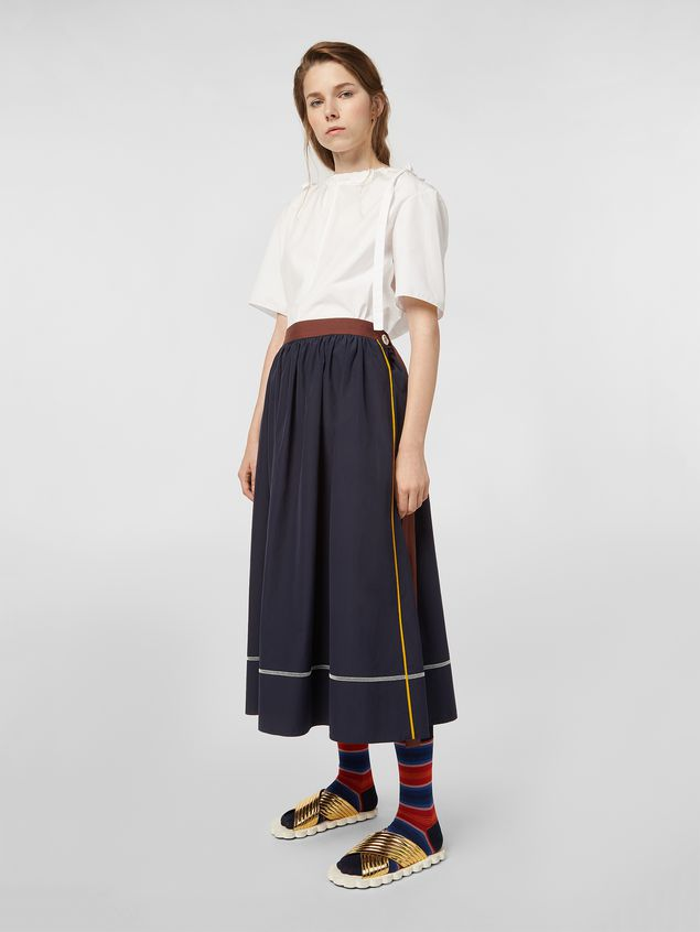Marni - Skirt in cotton poplin with horn buttons - 1