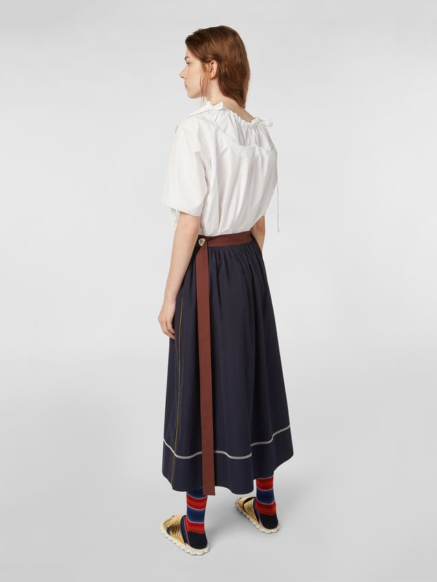 Marni - Skirt in cotton poplin with horn buttons - 3