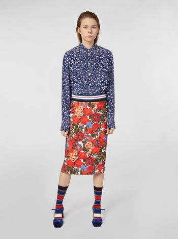 Marni Gonna con spacco in twill di viscosa stampa Duncraig Donna