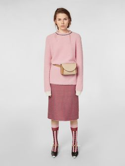 Marni Straight skirt in micro plaid cotton tweed Woman