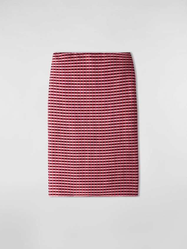Marni Straight skirt in micro plaid cotton tweed Woman - 2