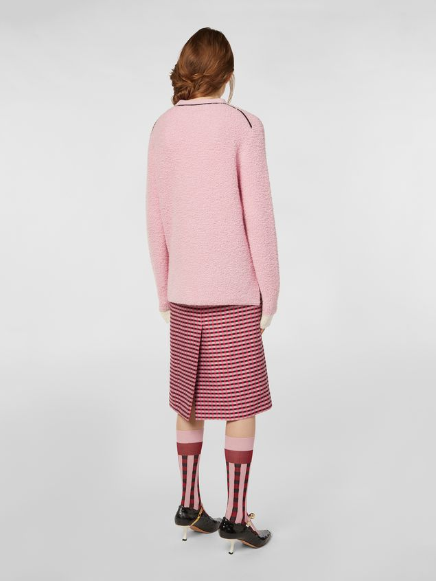 Marni Straight skirt in micro plaid cotton tweed Woman - 3