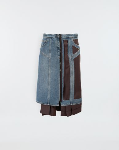 MAISON MARGIELA Décortiqué' wool-blend and denim skirt 3/4 length skirt [*** pickupInStoreShipping_info ***] f