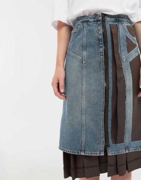 MAISON MARGIELA Décortiqué' wool-blend and denim skirt 3/4 length skirt [*** pickupInStoreShipping_info ***] a