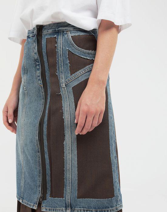 MAISON MARGIELA Décortiqué' wool-blend and denim skirt 3/4 length skirt [*** pickupInStoreShipping_info ***] b