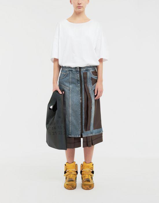 MAISON MARGIELA Décortiqué' wool-blend and denim skirt 3/4 length skirt [*** pickupInStoreShipping_info ***] d
