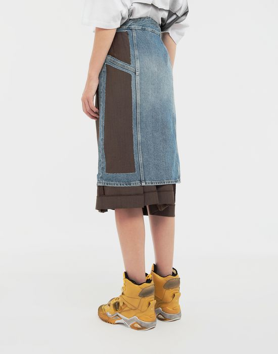 MAISON MARGIELA Décortiqué' wool-blend and denim skirt 3/4 length skirt [*** pickupInStoreShipping_info ***] e