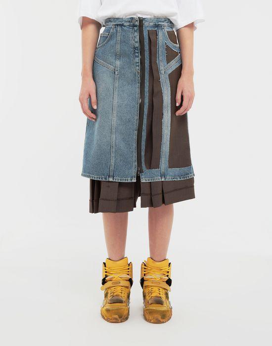 MAISON MARGIELA Décortiqué' wool-blend and denim skirt 3/4 length skirt [*** pickupInStoreShipping_info ***] r