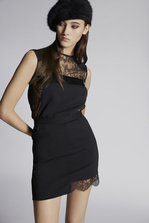 DSQUARED2 Stretch Cady Lace Trimmed Mini Skirt Skirt Woman