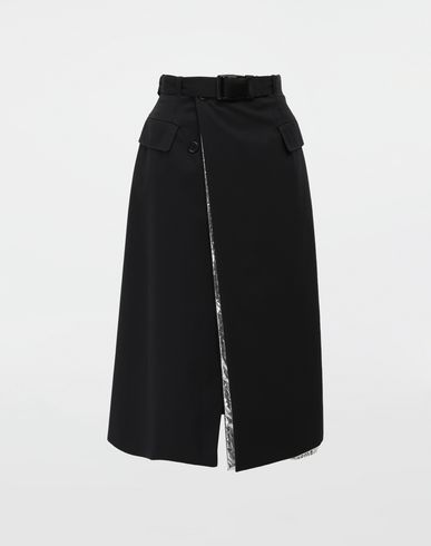 MAISON MARGIELA Double layer cotton-blend midi skirt 3/4 length skirt [*** pickupInStoreShipping_info ***] f