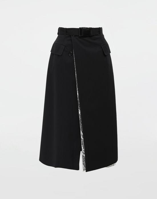 MAISON MARGIELA Double layer cotton-blend midi skirt 3/4 length skirt [*** pickupInStoreShipping_info ***] f