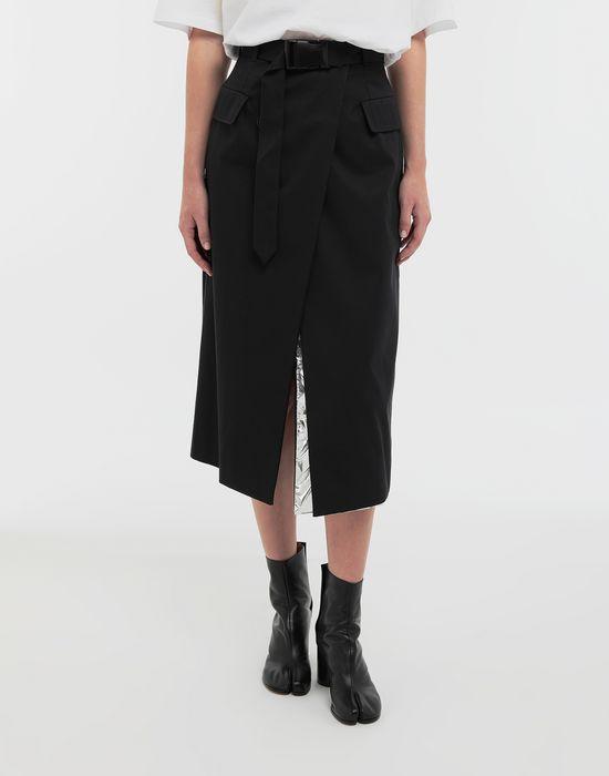 MAISON MARGIELA Double layer cotton-blend midi skirt 3/4 length skirt [*** pickupInStoreShipping_info ***] r