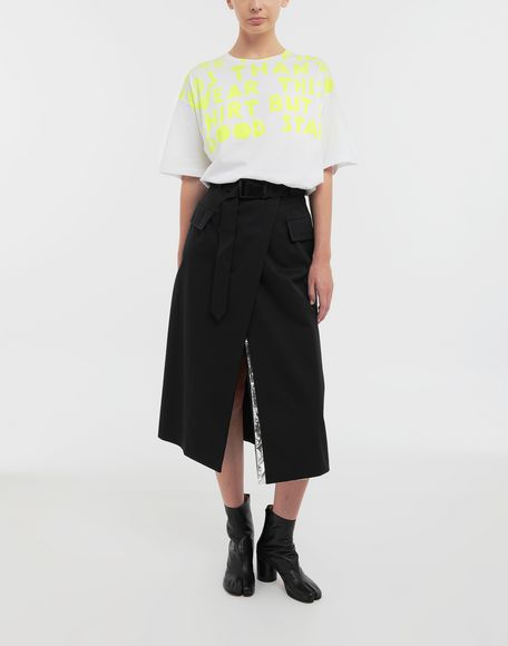 MAISON MARGIELA Double layer cotton-blend midi skirt 3/4 length skirt Woman d