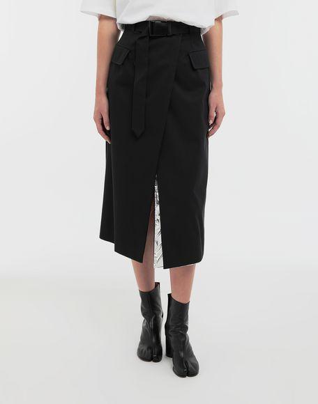 MAISON MARGIELA Double layer cotton-blend midi skirt 3/4 length skirt Woman r