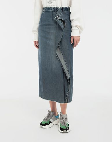 SKIRTS Wrap denim skirt Blue