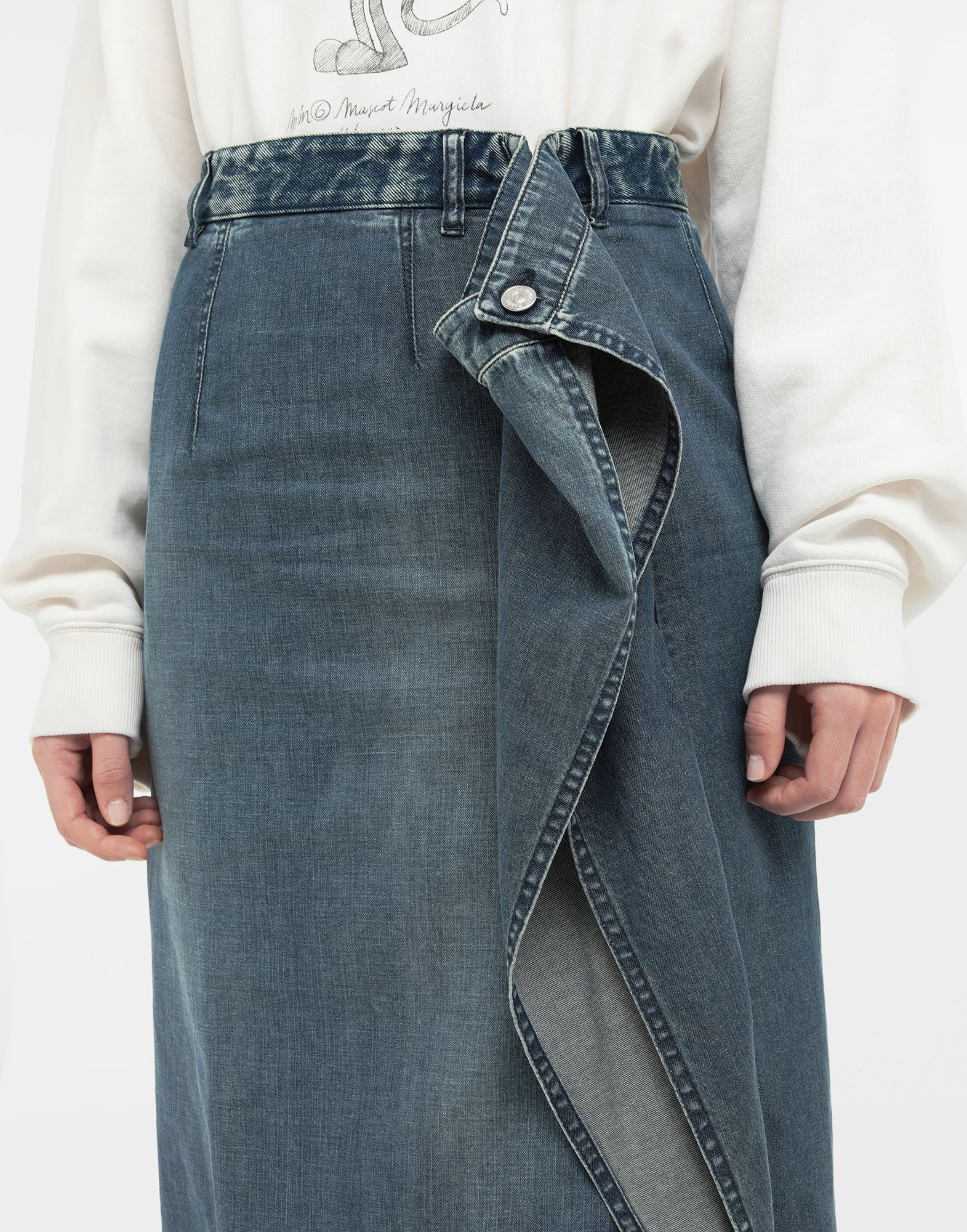 MM6 MAISON MARGIELA Wrap denim skirt Denim skirt Woman a