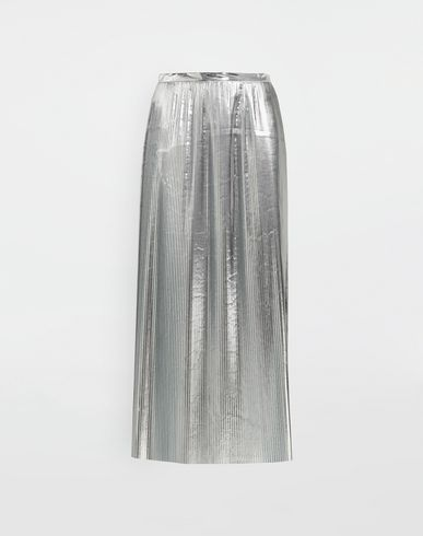 MAISON MARGIELA Silver pleated nylon skirt 3/4 length skirt [*** pickupInStoreShipping_info ***] f