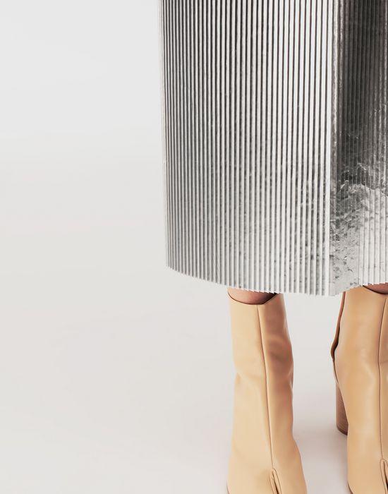MAISON MARGIELA Silver pleated nylon skirt 3/4 length skirt [*** pickupInStoreShipping_info ***] a