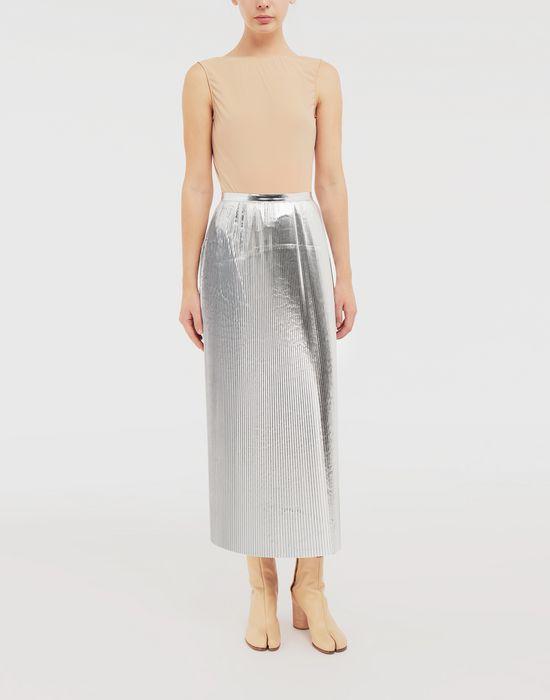 MAISON MARGIELA Silver pleated nylon skirt 3/4 length skirt [*** pickupInStoreShipping_info ***] d