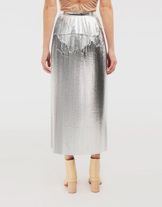 MAISON MARGIELA Silver pleated nylon skirt 3/4 length skirt [*** pickupInStoreShipping_info ***] e