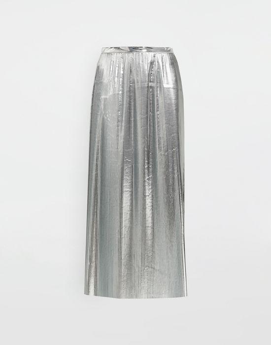 MAISON MARGIELA Silver pleated nylon skirt 3/4 length skirt [*** pickupInStoreShipping_info ***] f