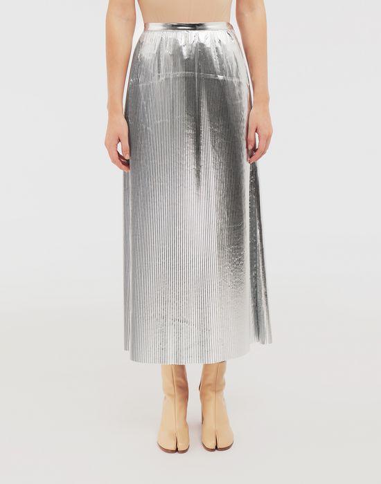 MAISON MARGIELA Silver pleated nylon skirt 3/4 length skirt [*** pickupInStoreShipping_info ***] r