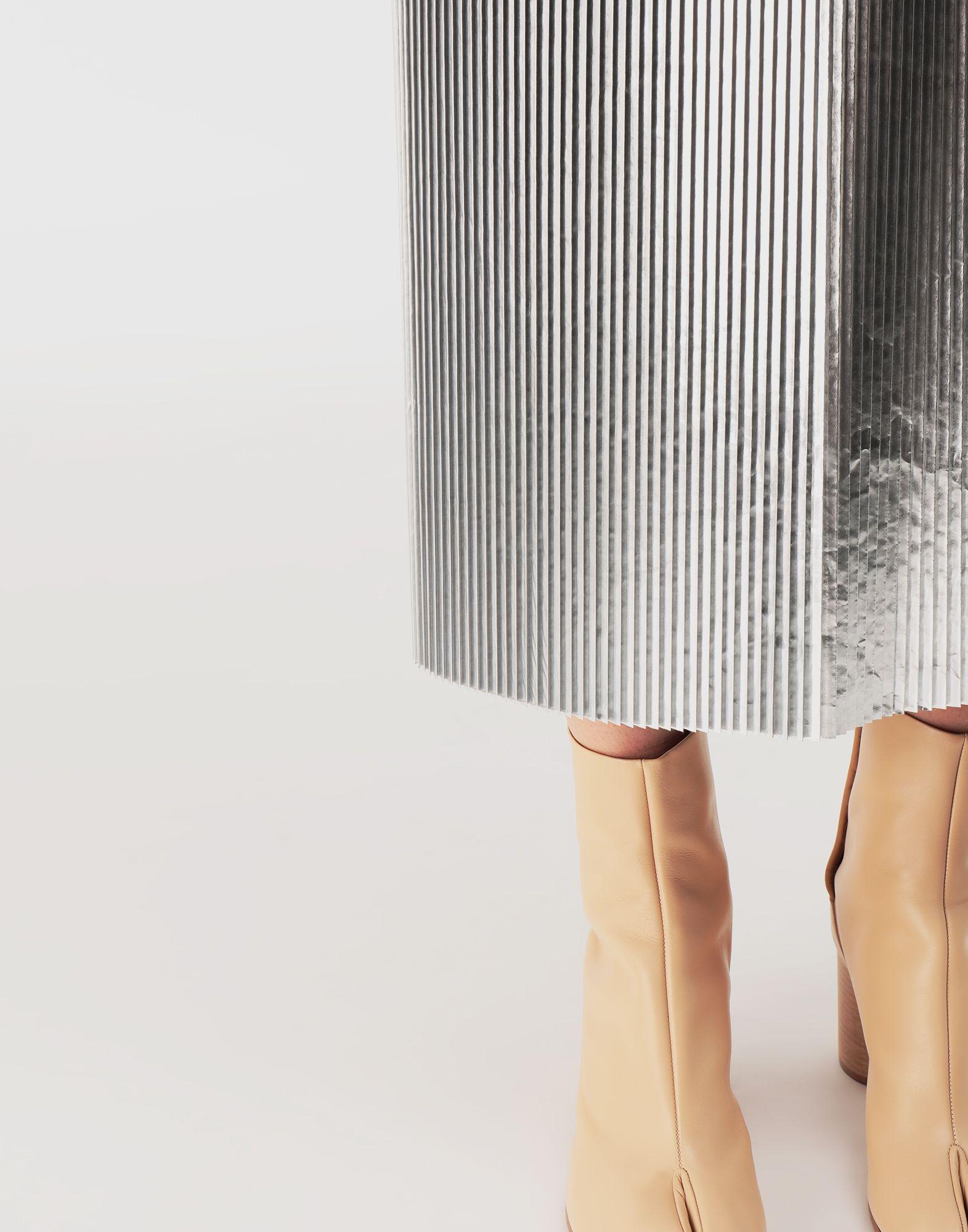 MAISON MARGIELA Silver pleated nylon skirt 3/4 length skirt Woman a